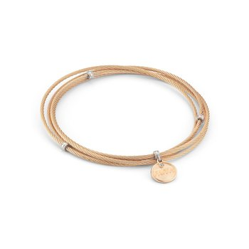 Rose Cable Affirmation Bangle with Diamond FAITH Charm