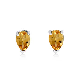 14k White Gold Citrine Pear-Shaped Earring