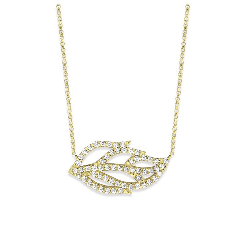KC Designs 14K Diamond Leaf Necklace