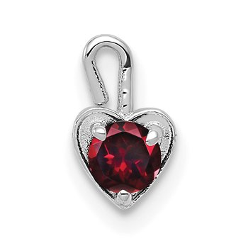 14k White Gold July Synthetic Birthstone Heart Charm
