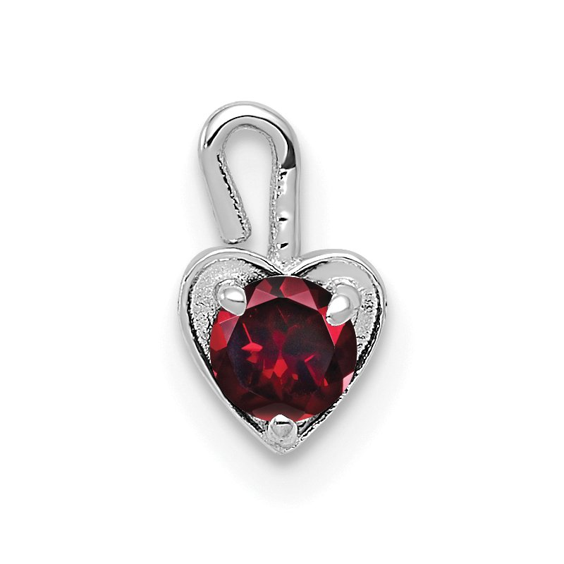 Quality Gold 14k White Gold July Synthetic Birthstone Heart Charm