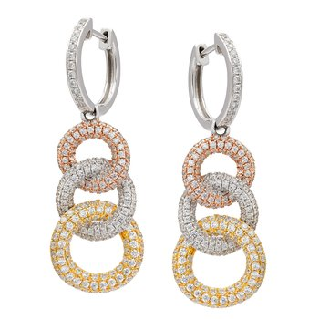 Diamond 3 Circle Tri Color Drop Earrings