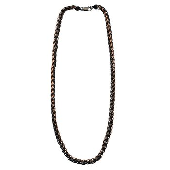 8mm Plated Cappuccino and Black Wheat Chain