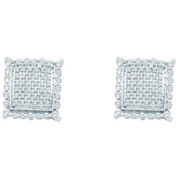 10kt White Gold Womens Round Diamond Square Cluster Screwback Earrings 1/2 Cttw
