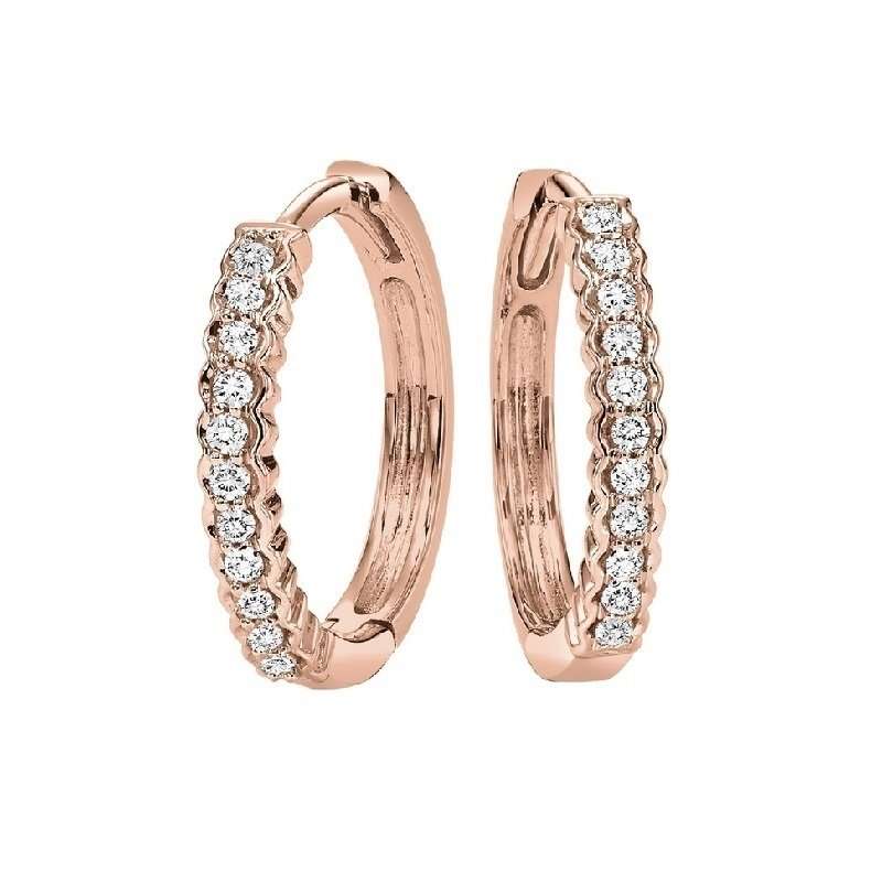 Gems One 10K Rose Gold Mixable Prong Diamond Earrings 1/7CT