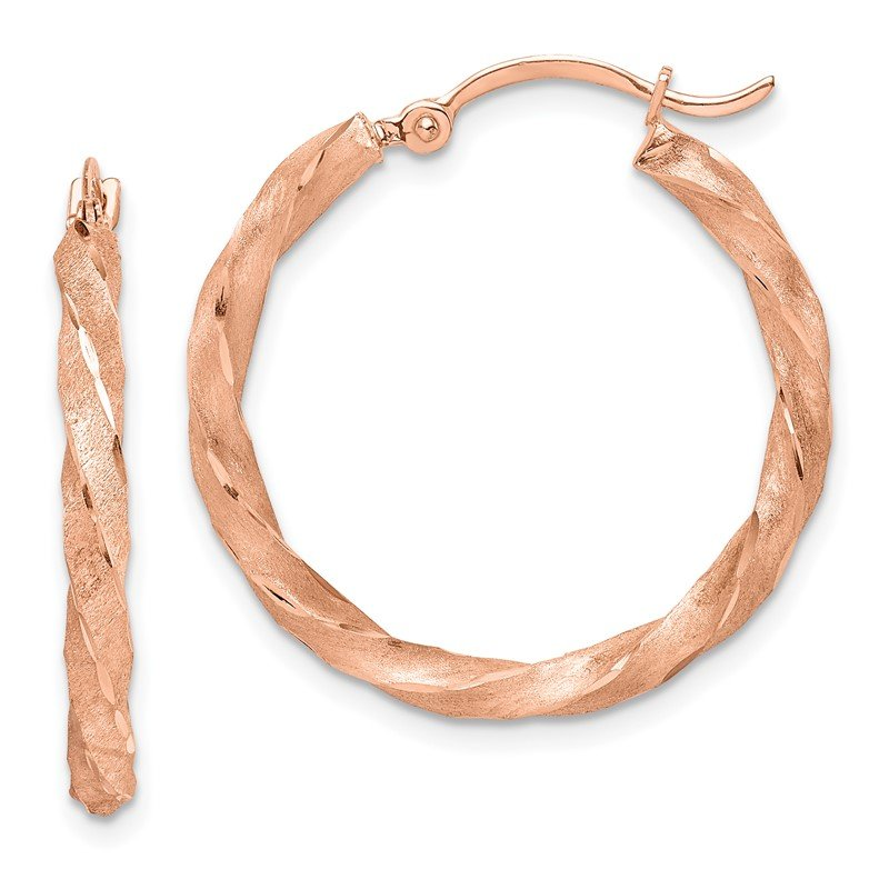Quality Gold 14K Rose Gold Twisted Satin Diamond-Cut Hoop Earrings