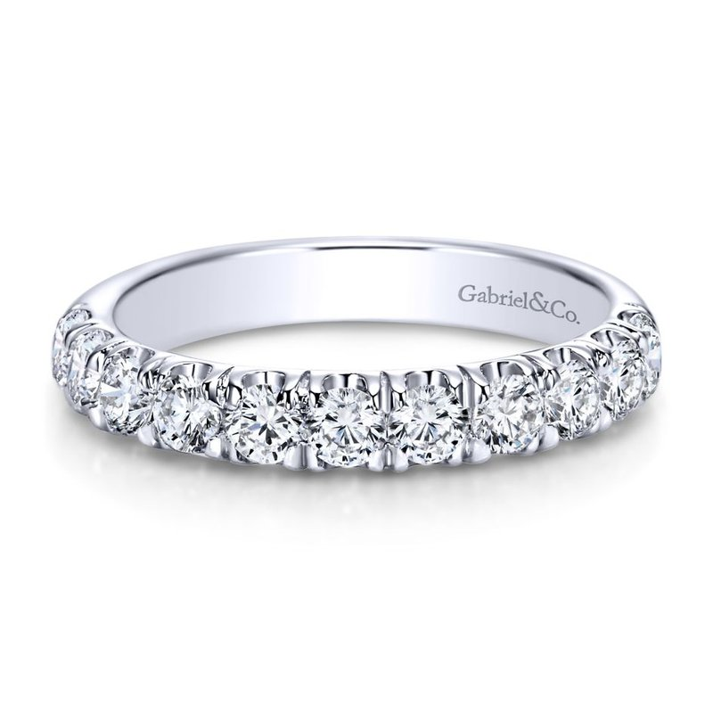 Gabriel Bridal 14K White Gold  Contemporary French Pave Straight  Diamond Band
