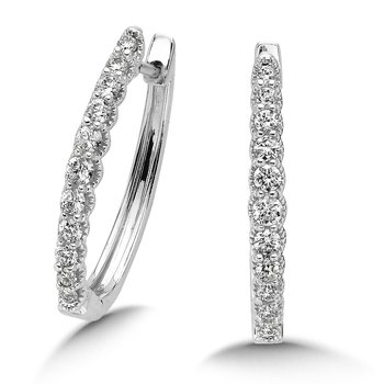 Pave set Diamond Oval Hoops in 14k White Gold (1/4 ct. tw.) JK/I1