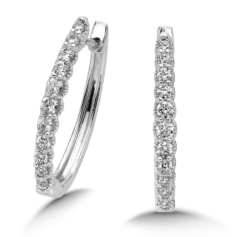SDC Creations Pave set Diamond Oval Hoops in 14k White Gold (1/4 ct. tw.) JK/I1