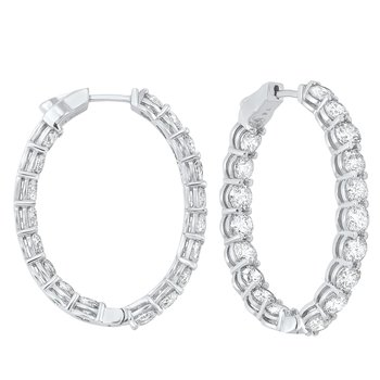 14K White Gold Prong Diamond Hoop Earrings (10 ct. tw.) SI3 - G/H