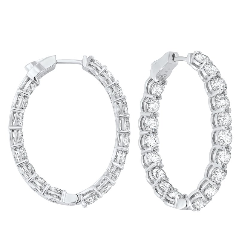 Gems One 14K White Gold Prong Diamond Hoop Earrings (10 ct. tw.) SI3 - G/H