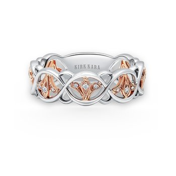 Kirk Kara 18K White Gold Rose Gold Diamond Floral Band