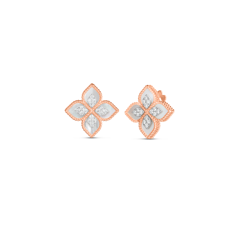 Roberto Coin 18K PRINCESS FLOWER MOTHER-OF-PEARL & DIAMOND MEDIUM STUD EARRING