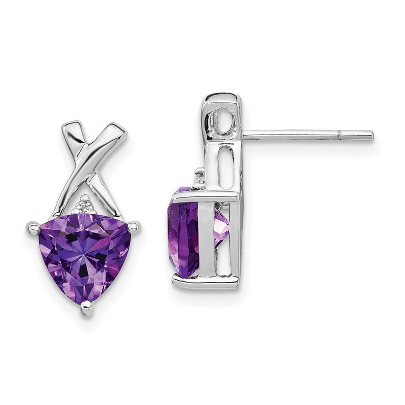 Quality Gold 14k White Gold Amethyst and White Topaz Trillion Post Earrings