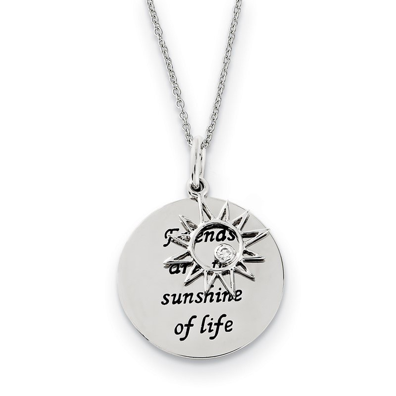 Quality Gold Sterling Silver Antiqued CZ Friends Are The Sunshine 18in Necklace