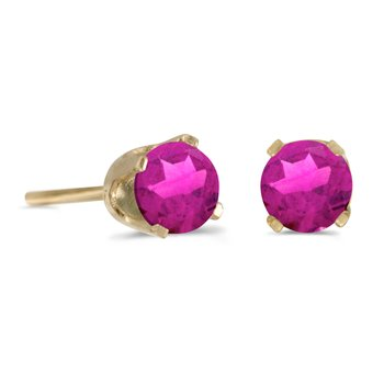 4 mm Round Pink Topaz Stud Earrings in 14k Yellow Gold