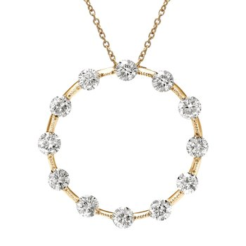 14K Yellow Gold Diamond Circle Pendant (1.00 carat)