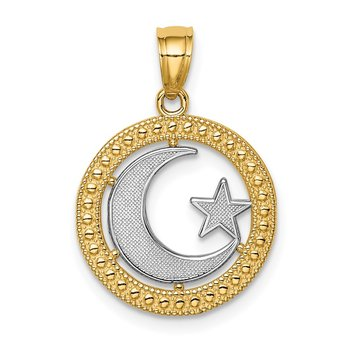 14K w/Rhodium Star & Moon Pendant