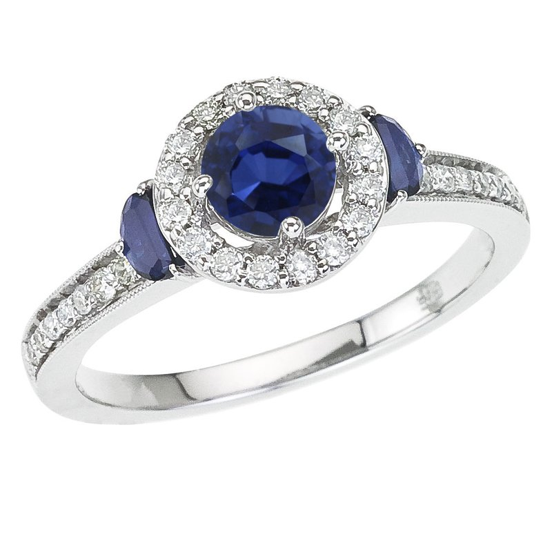 Color Merchants 14k White Gold Sapphire and Diamond Halo Ring