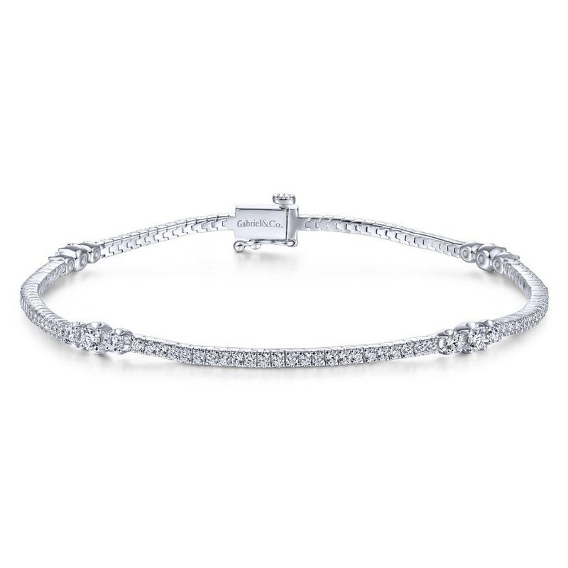 Gabriel Fashion 14K White Gold Diamond Tennis Bracelet