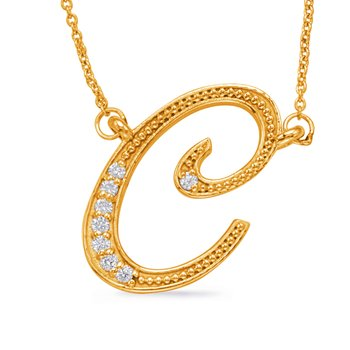Yellow Gold Diamond Initial C Pendant
