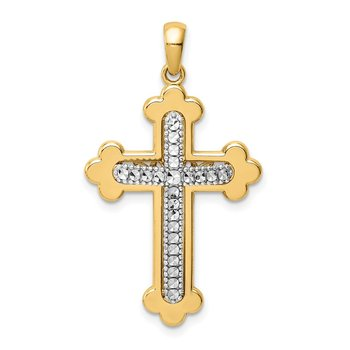 14k Two-tone Diamond-cut Polished 3D Cross Pendant