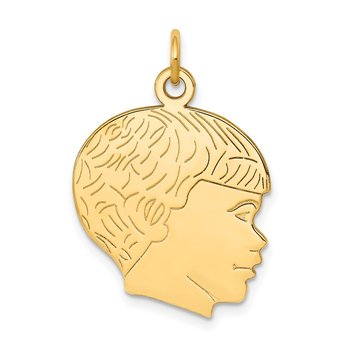 14k Solid Polished Boys Head Charm