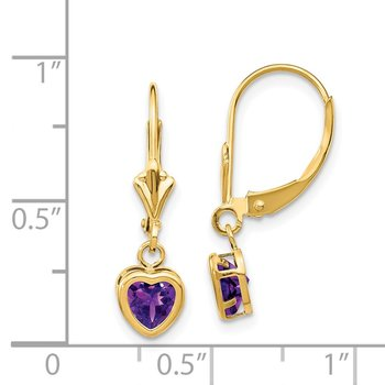 14k 5mm Heart Amethyst Earrings