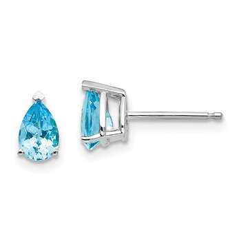 14k White Gold 6x4mm Pear Blue Topaz Earrings