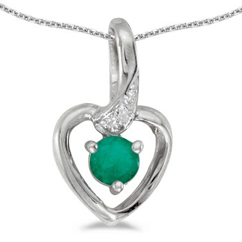 10k White Gold Round Emerald And Diamond Heart Pendant