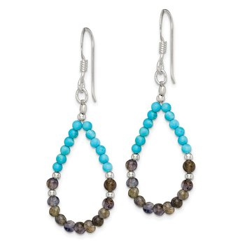 Sterling Silver Iolite/Recon. Turquoise Teardrop Shepherd Hook Earrings
