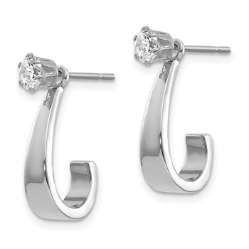 14k White Gold J Hoop w/CZ Earring Jacket