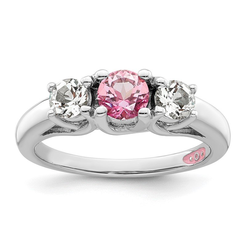 Quality Gold 10k White Gold Survivor Clear & Pink Swarovski Topaz Pamela Ring