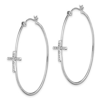 Sterling Silver Rhodium-plated CZ Cross Hoop Earrings