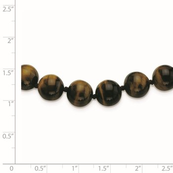 10-10.5mm Smooth Beaded Tiger Eye Necklace