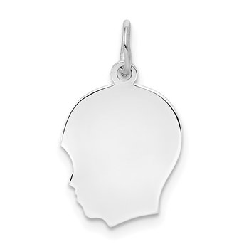 Sterling Silver Rh-plt Engraveable Boy Disc Charm Polish on Front/Back