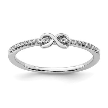 Sterling Silver Rhodium-plated CZ Infinity Ring