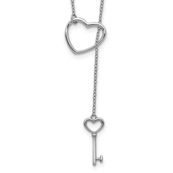 Sterling Silver Rhod-plated Open Heart and Key w/2in ext Necklace