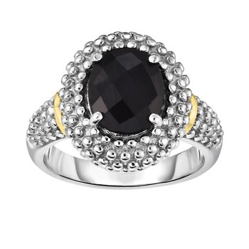 Silver & 18K Oval Black Onyx Popcorn Ring