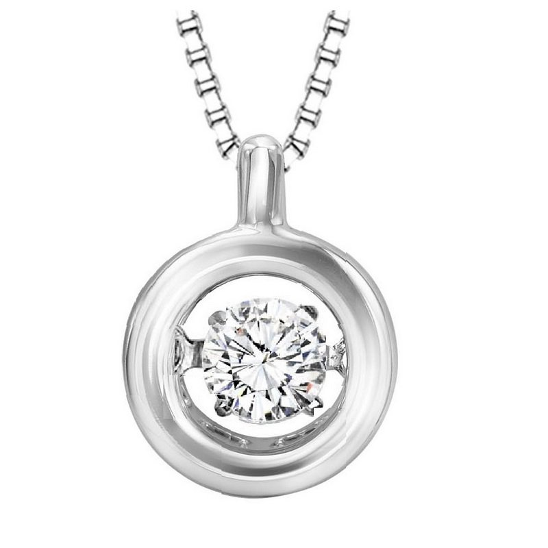 Necker's Signature Collection Silver White Topaz Rhythm Of Love Pendant