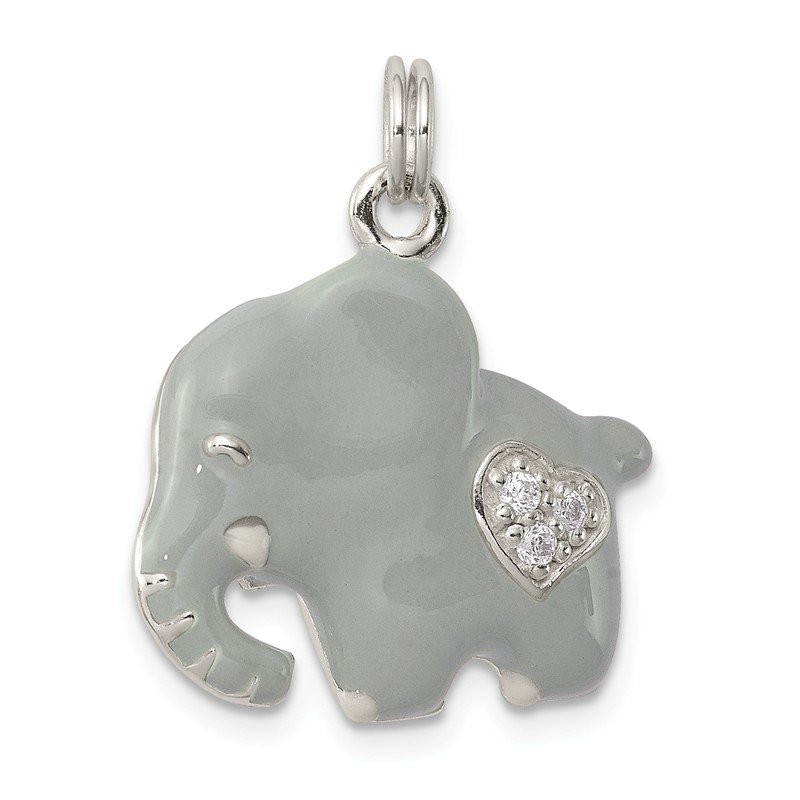 Quality Gold Sterling Silver CZ Grey Enameled Polished Elephant Charm
