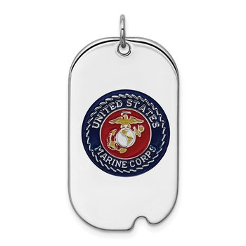 Sterling Silver Rhodium-plated US Marine Corp Dog Tag