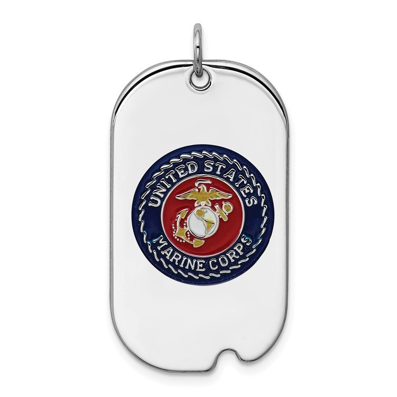 Quality Gold Sterling Silver Rhodium-plated US Marine Corp Dog Tag