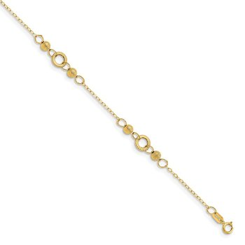 Leslie's 14K Polished and Laser Textured Anklet