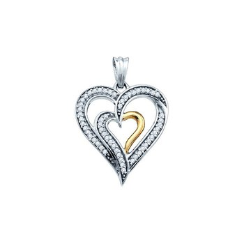 10kt White Gold Womens Round Diamond Double Nested 2-tone Heart Love Pendant 1/6 Cttw