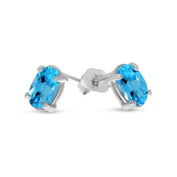 14k White Gold Oval Blue Topaz Earrings
