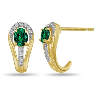 10K YG and diamond and Emerald halo style birthstone earring