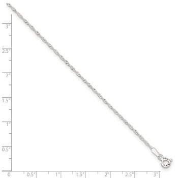 Sterling Silver 1.3mm Singapore 9in Plus 1in ext. Chain Anklet