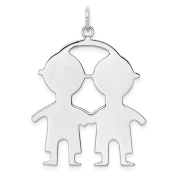 SS Rh-plt Engraveable Boy/Boy Polished Front/Satin Back Disc Charm