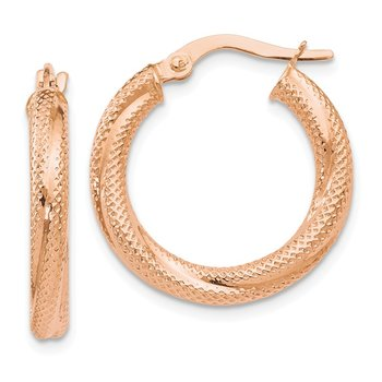 Leslie's 10K Rose Gold Textured Hinged Hoop Earrings